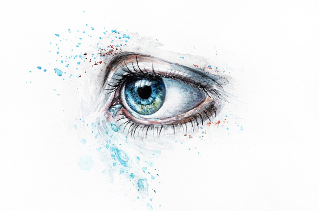 watercolor painting of eye on illustration board