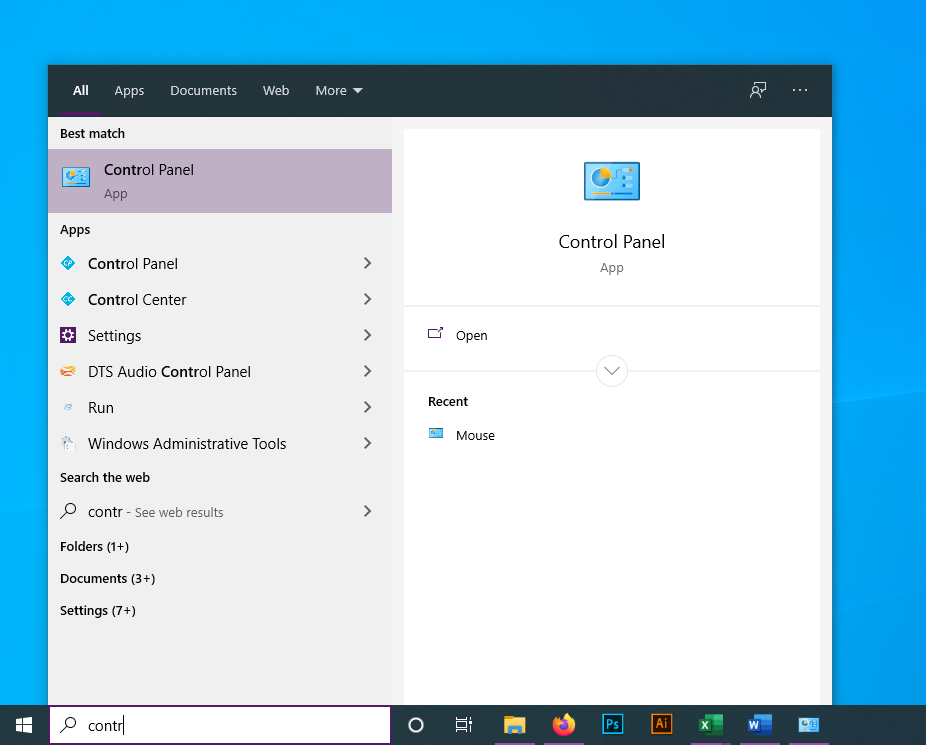 change mouse dpi windows 10: search control panel