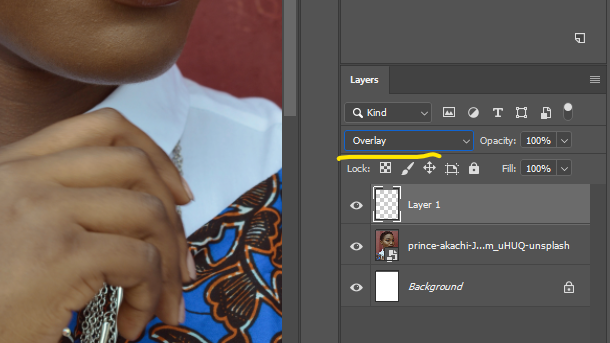 Change the blending mode of your layer from Normal to Overlay