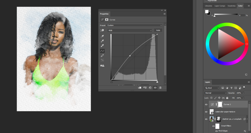create a new adjustment layer with curves. Drag the curve up or down to achieve your desired effect.