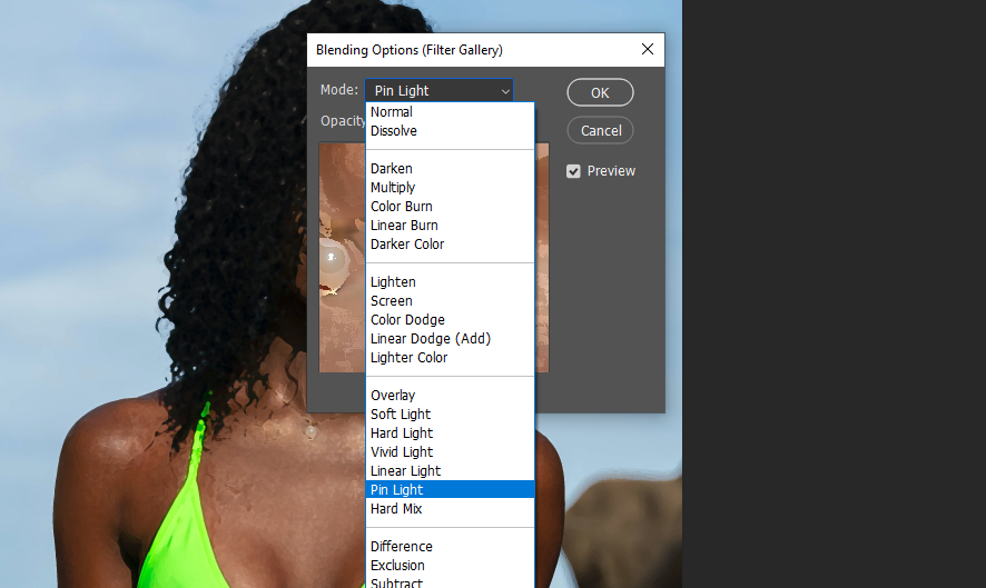 Change the blending mode to Pin Light