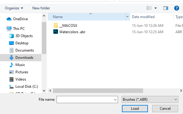 Locate your .abr file on your computer and click Load