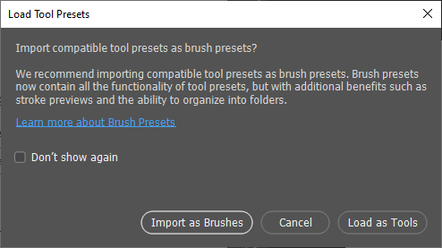 Choose Import as Brushes when prompted