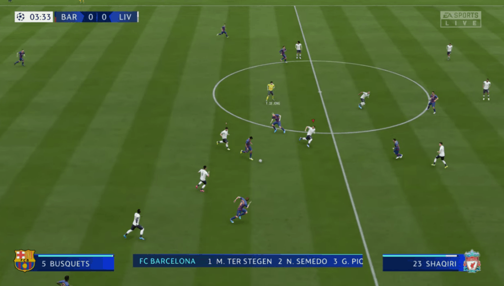 EA's Fifa 2020 gameplay interface showing info bars. Graphic design in game design