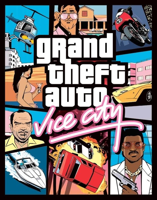 GTA Vice city poster. Graphic design in game design