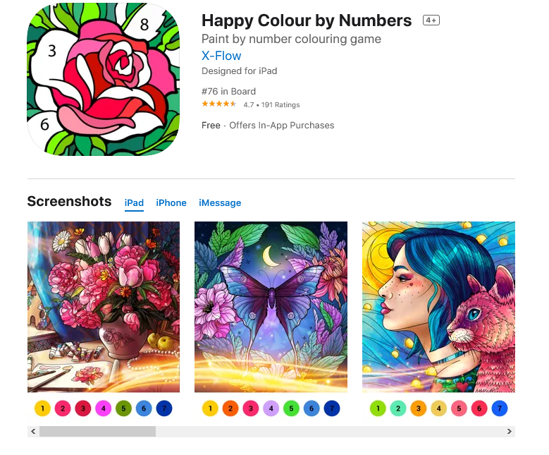 Happy Colour by Numbers (Free: iPadOS and iOS)
