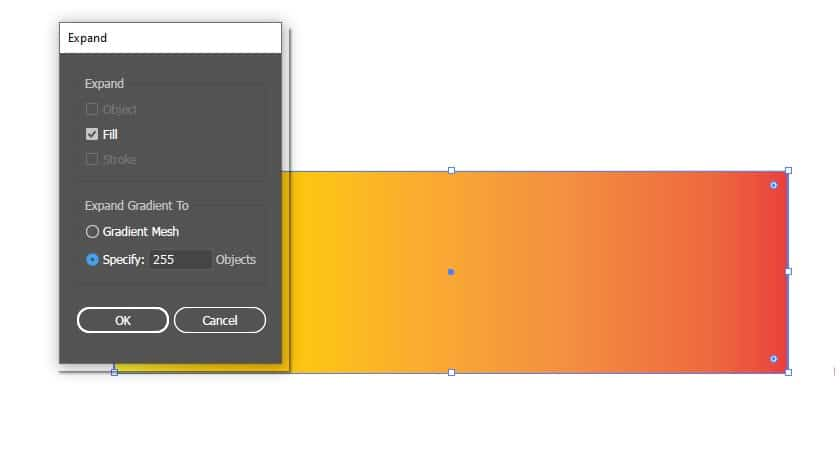 Expand gradient. Specify objects